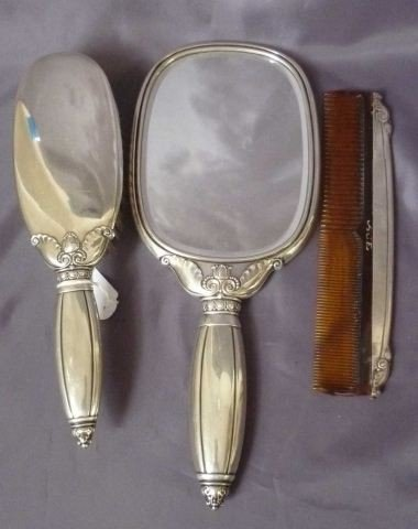 2: American Sterling Silver Hand Mirror, Brush and