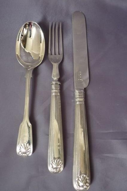 6: Victorian Sterling Silver Knife, Fork and Spoon,