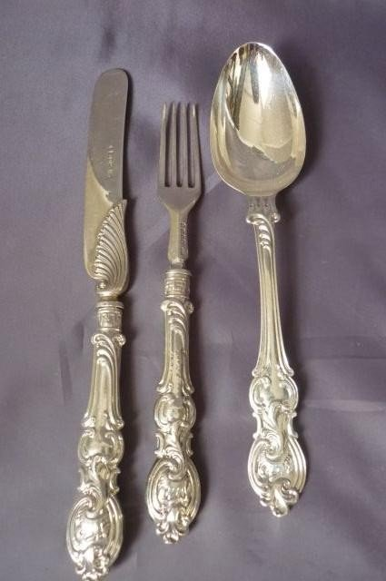 7: Victorian Sterling Silver Knife, Fork and Spoon,