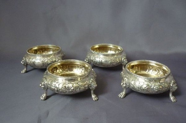 10: Set of Four 19th Century Footed Salts,