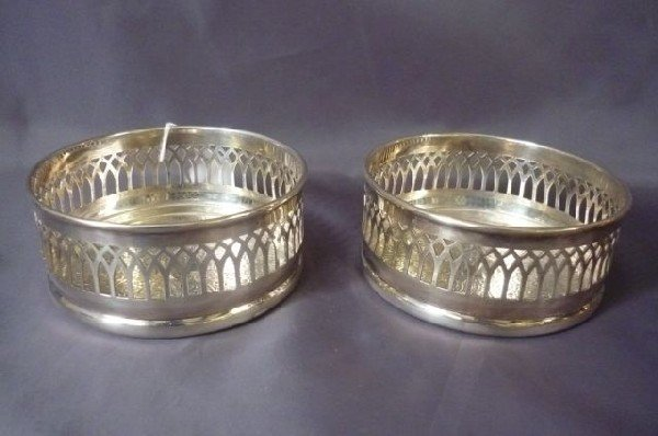 13A: Pair of Silver Plate Wine Coasters,