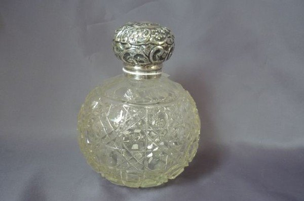 14: Edwardian Sterling Silver and Crystal Perfume