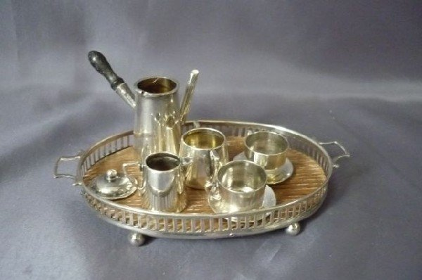 3: English Sterling Silver Miniature Tea Set and Tray