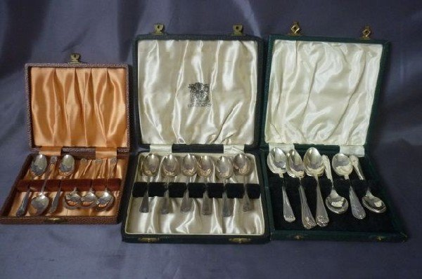 21: Two Boxes of Sterling Silver Teaspoons,
