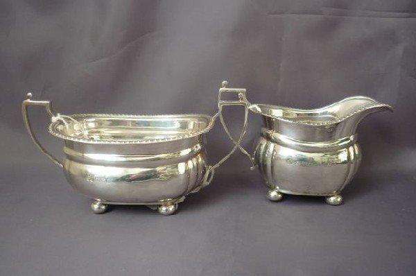 22A: English Sterling Silver Twin Handled Sugar Bowl