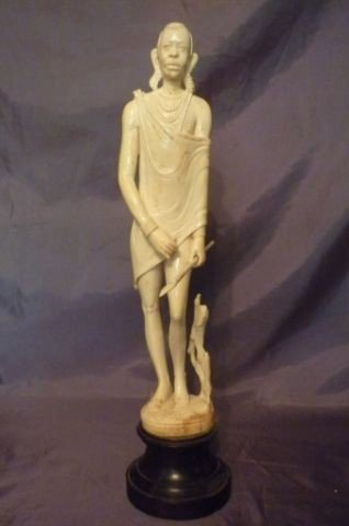 5: Late 19th Century African Ivory Figure of Warrior,