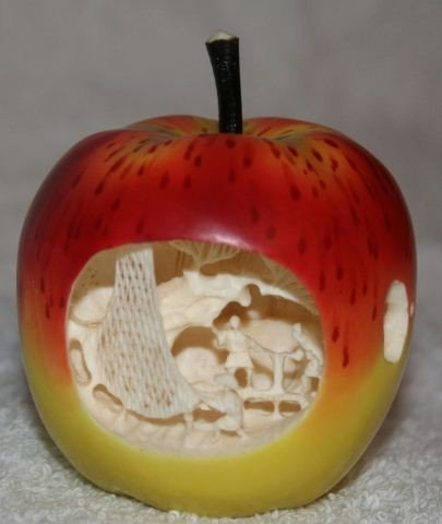 9: Japanese Stained Ivory Figure of an Apple,