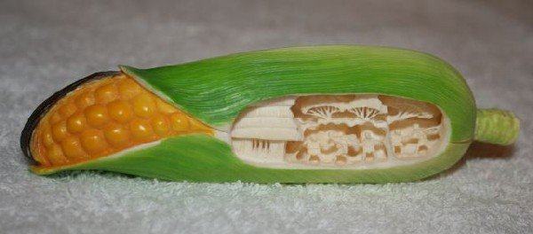 11: Japanese Stained Ivory Figure of Corn,