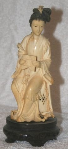 13: Chinese Ivory Figure Group of a Courtly Lady,