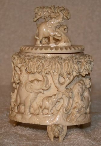 23: Chinese Carved Ivory Box and Cover
