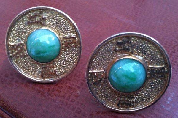 554: Pair of 18ct Gold Chinese Cufflinks,