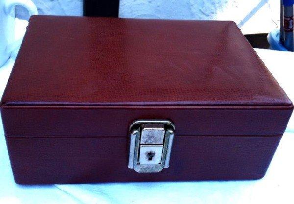 561: South American Leather Cufflink Box,