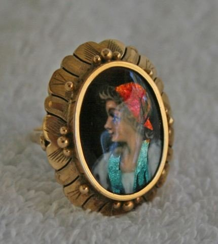 572: 19th Century Gold and Enamel Set Ring,