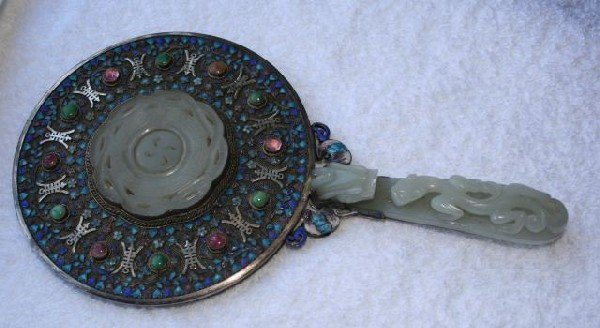 641: 19th Century Chinese Silver Enamel and Jade