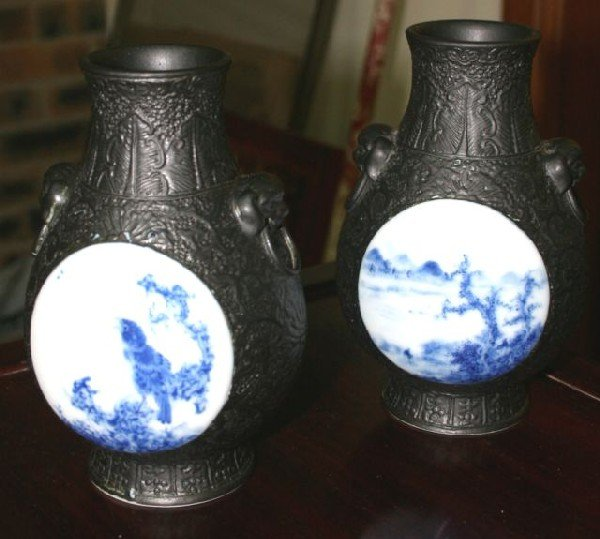 802: Unusual Pair of Chinese Porcelain Vases,
