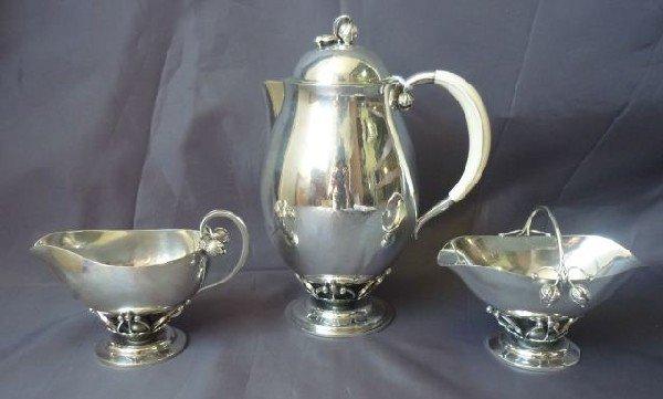 1: Vintage Georg Jensen Silver and Ivory Three Piece