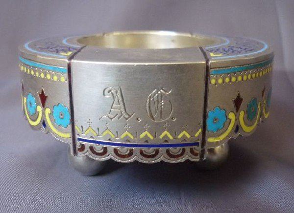 2: Russian Silver and Champleve Enamel Salt,