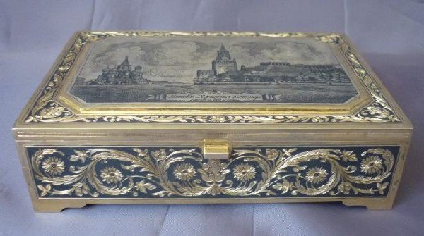 4: Rare Russian Gilt Silver and Niello Cigar Box,
