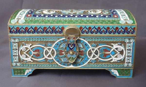 6: Good Russian Silver and Enamel Casket,