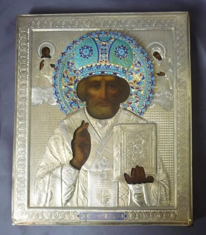 9: Good Russian Silver, Painted and Enamel Icon,