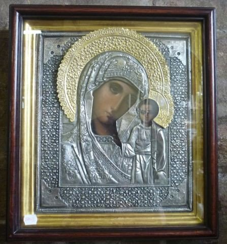 14: 19th C Russian Silver and Gilt Painted Icon,