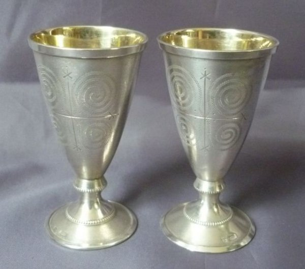 21: Pair of Russian Silver Kiddush Cups,