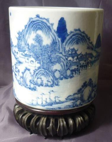 279: Chinese Blue and White Brush Pot,