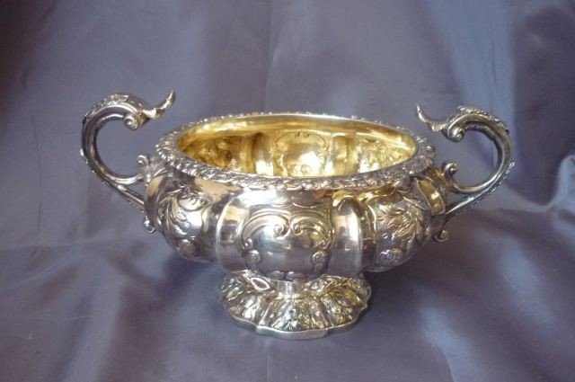 4: George IV Sterling Silver Twin Handled Sugar Bowl,