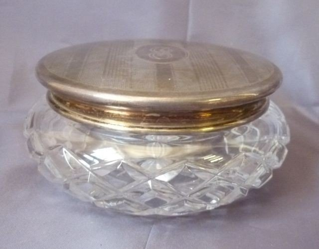 8: Sterling Silver Top Toilet Jar and Glass Body,