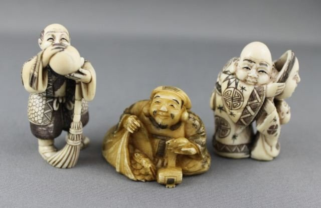 1: Three Carved and Incised Ivory Netsuke,