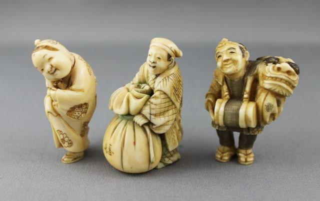 2: Three Carved and Incised Ivory Netsuke,