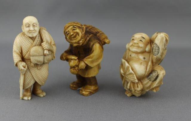 3: Three Carved and Incised Ivory Netsuke,