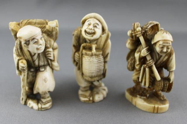 4: Three Carved and Incised Ivory Netsuke,