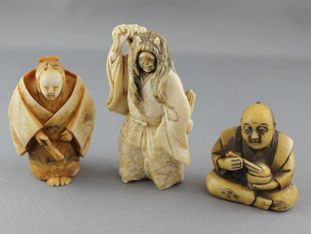 6: Three Carved and Incised Ivory Netsuke,