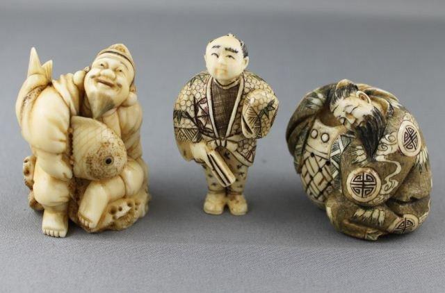 7: Three Carved and Incised Ivory Netsuke,