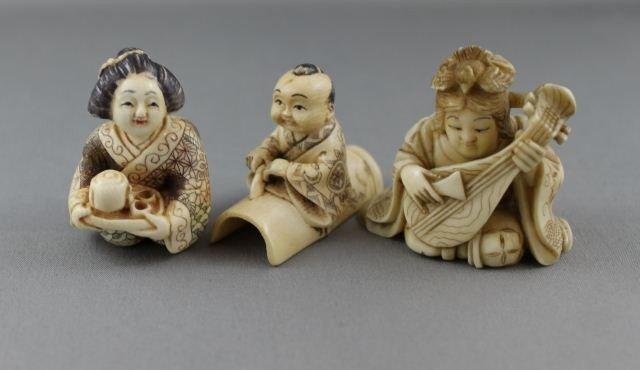 8: Three Carved and Incised Ivory Netsuke,