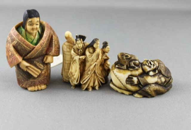 9: Antique Beautifully Carved Ivory Figure Group,
