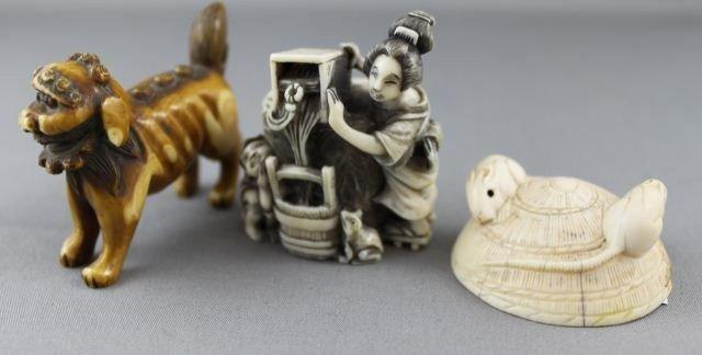 16: Three Carved Ivory Netsuke,