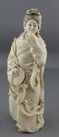 18: Good Carved Chinese Ivory and Incised Kwan Yin,