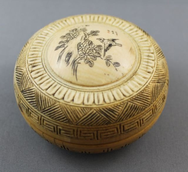 19: Carved Ivory Circular Box and Cover,