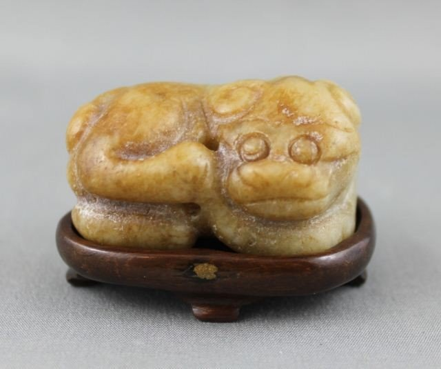 Chinese Carved Jade Dog Toggle,
