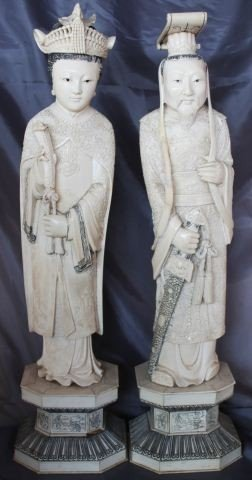 Good Pair of Large Chinese Carved Ivory Figures,