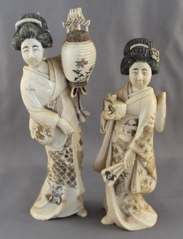 Good Pair of Japanese Ivory Geishas,
