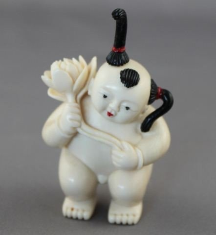 Well Carved Chinese Ivory Snuff Bottle and Stopper