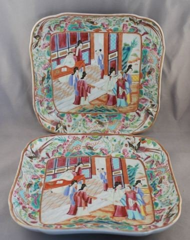 Pair of Chinese Famille Rose Dishes,