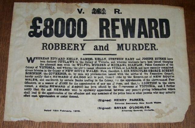 Ned Kelly Reward Poster 1879