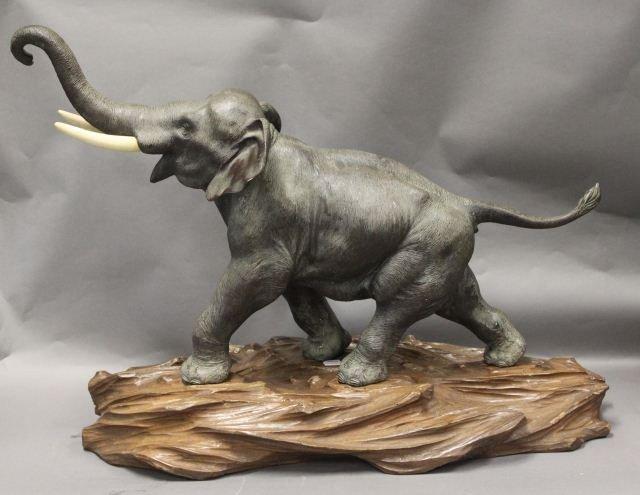 Japanese Meiji Period Bronze & Ivory Elephant,