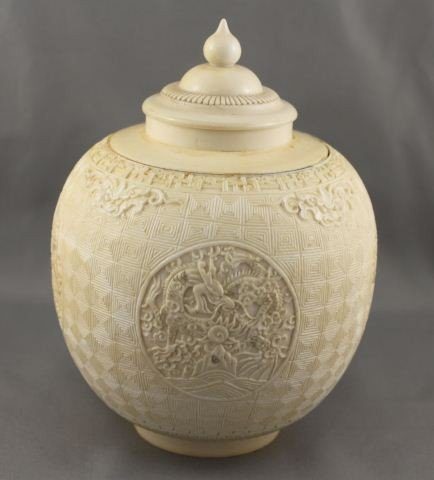 1000: Good Heavy Chinese Ivory Ginger Jar and Cover,