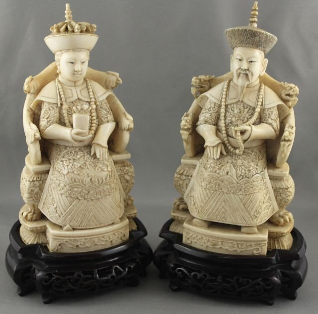 1001: Good Pair of Chinese Carved Ivory Ancestral