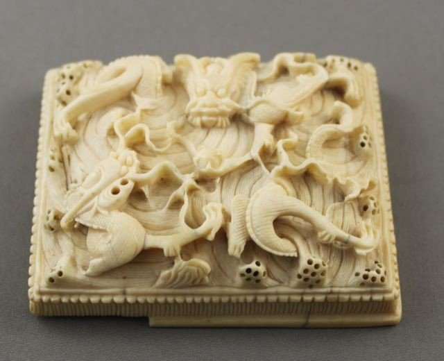 1002: Well Carved Chinese Ivory Panel,